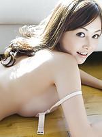 Anri Sugihara Asian plays with bra exposing gigantic knockers