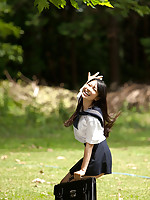 Tomoe Asian babe in uniform is happy in her way to school classes